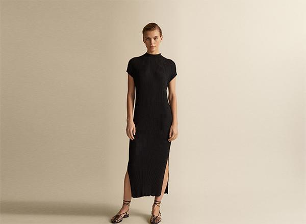 rochie neagra cu guler Massimo Dutti