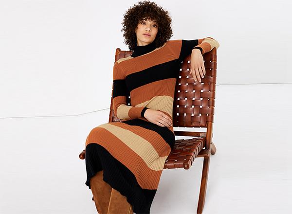 rochie tricotata cu dungi M&S