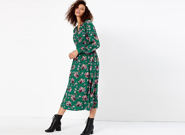 rochie verde cu flori M&S