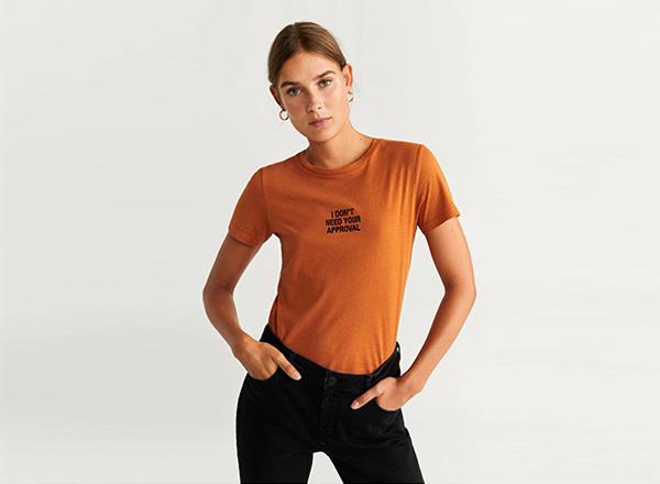tricou cu mesaj Mango