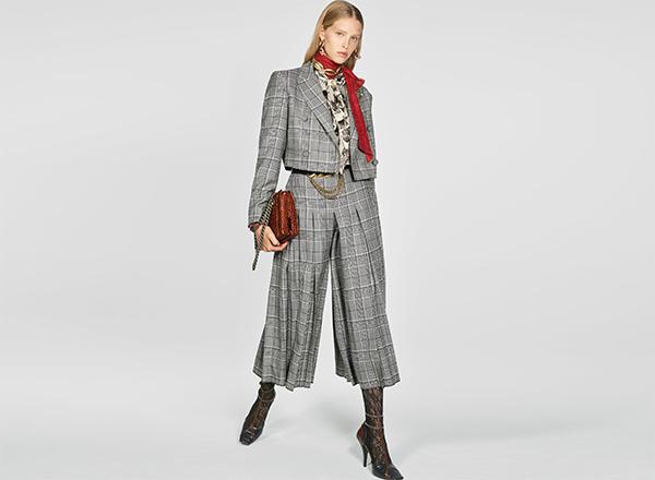 culottes plisati in carouri Zara