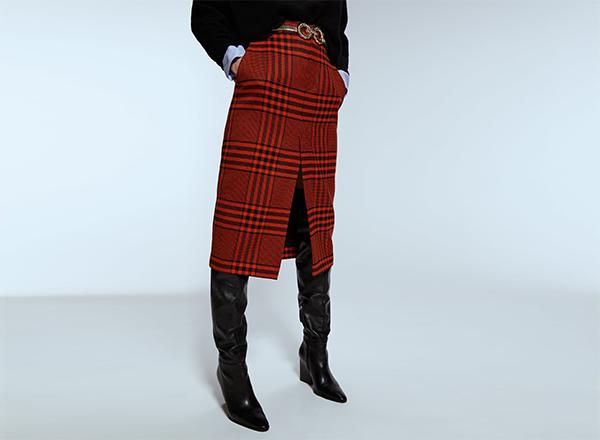 fusta dreapta carouri rosu negru Zara