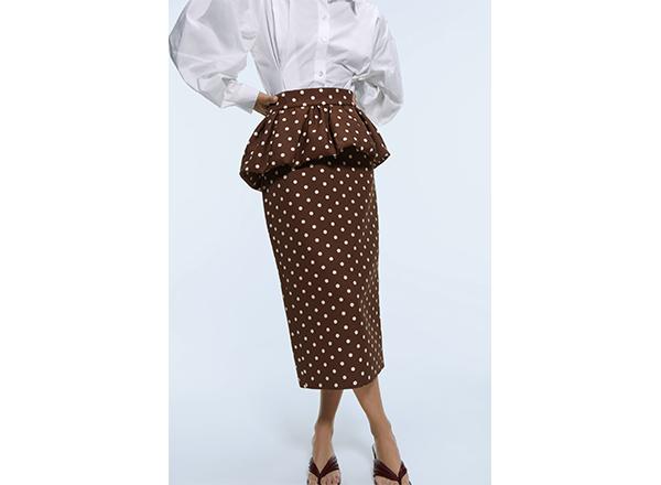 fusta midi cu peplum si buline Zara