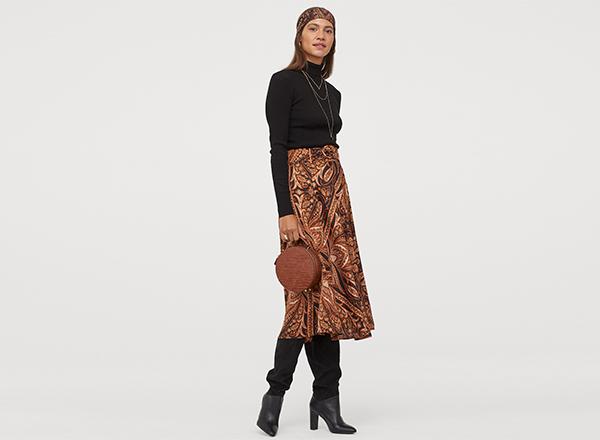 fusta midi paisley H&M