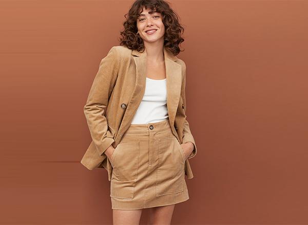 fusta mini catifea reiata H&M