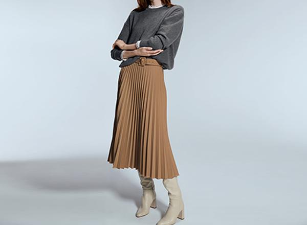 fusta plisata bej pamantiu Zara