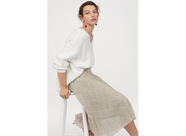 fusta plisata in carouri H&M