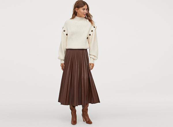 fusta plisata piele eco H&M