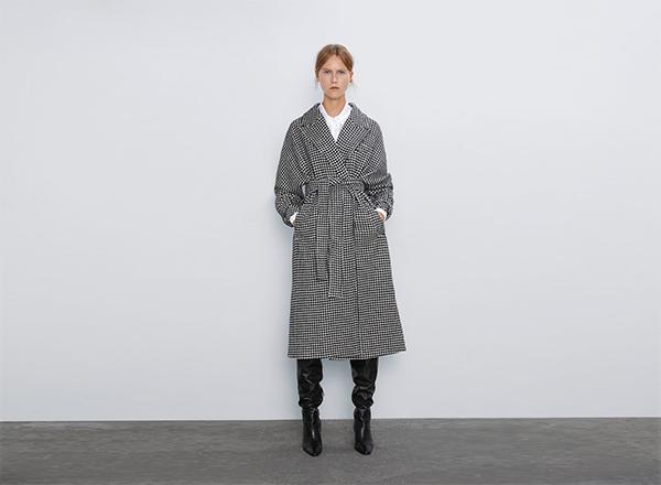 palton pepit carouri alb-negru Zara