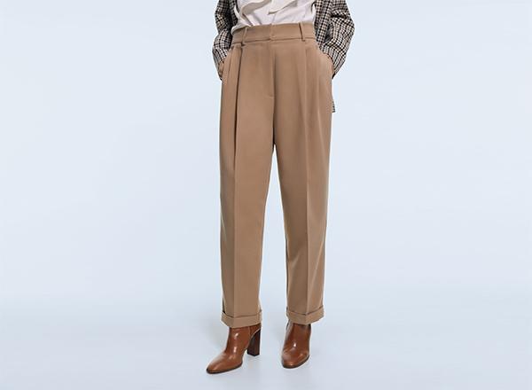 pantaloni cu pliuri Zara