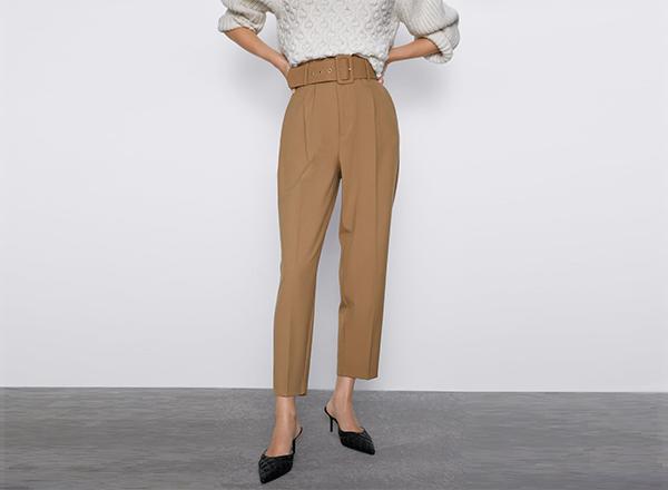 pantaloni cu talie inalta si cordon Zara