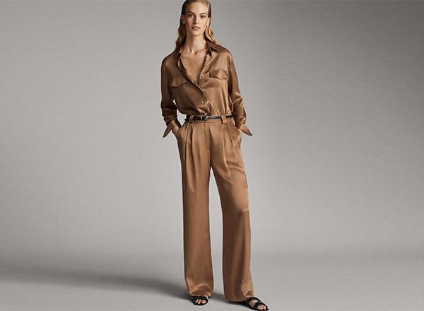 pantaloni satinati din cupro Massimo Dutti