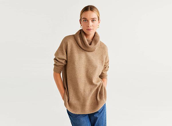 pulover bej cu guler rasfrant Mango