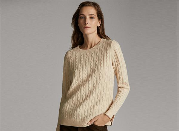 pulover bej cu torsade Massimo Dutti