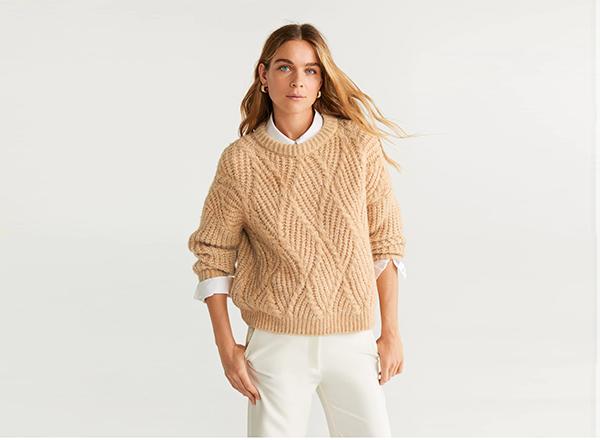 pulover cu torsade Mango