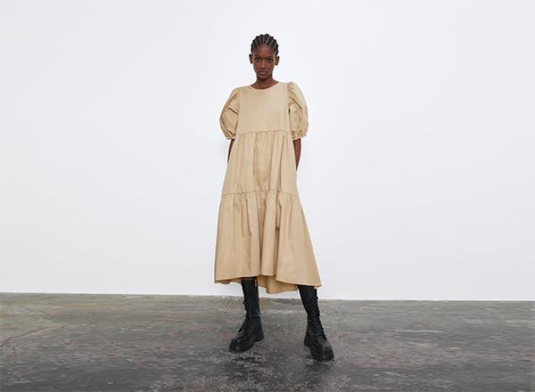 rochie bej cu volum Zara