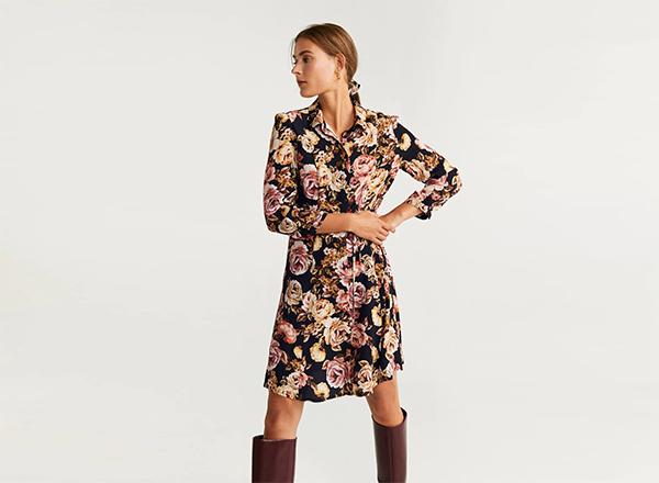 rochie camasa cu flori Mango