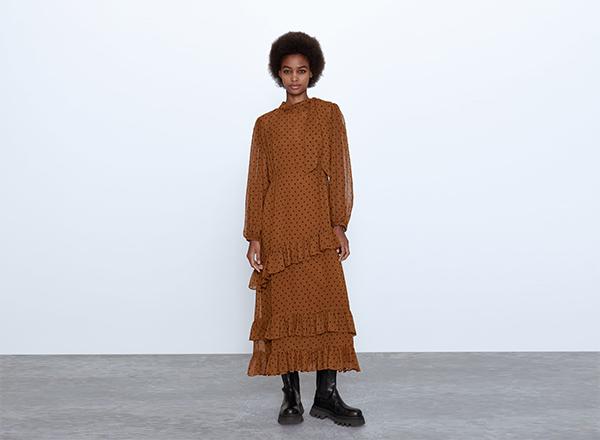 rochie cu buline maro tabac Zara
