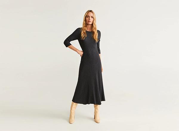 rochie gri lunga Mango