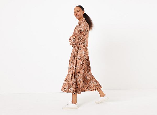 rochie larga cu imprimeu M&S