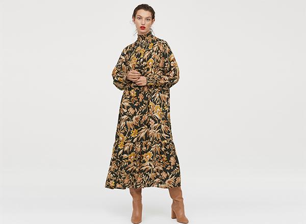 rochie maxi larga cu imprimeu de toamna H&M