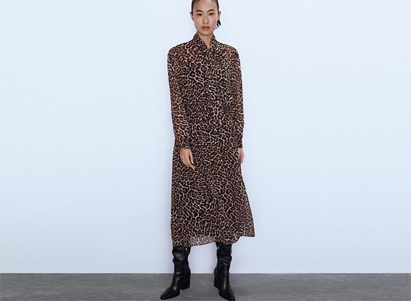 rochie midi animal print Zara
