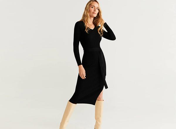 rochie neagra cu cordon Mango