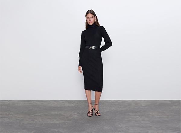 rochie neagra cu guler inalt Zara