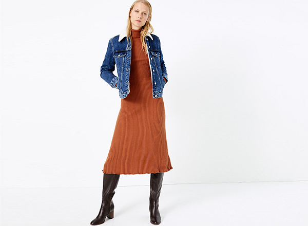 rochie tricotata cu guler inalt M&S