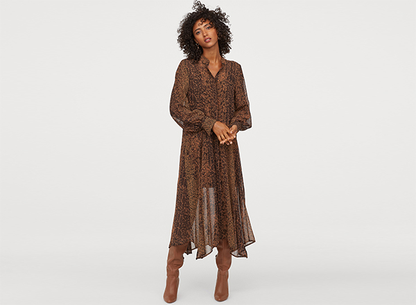 rochie vaporoasa ciocolatie H&M