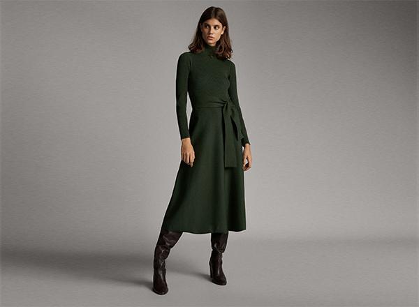 rochie verde inchis Massimo Dutti