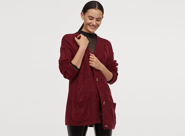 cardigan rosu burgund H&M