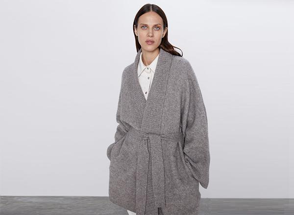 jacheta din lana nisipiu Zara