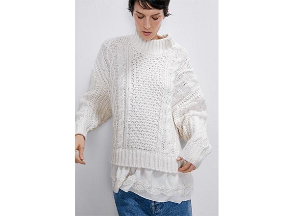 pulover alb cu torsade Zara