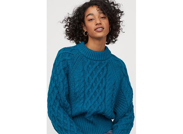 pulover albastru cu torsade H&M
