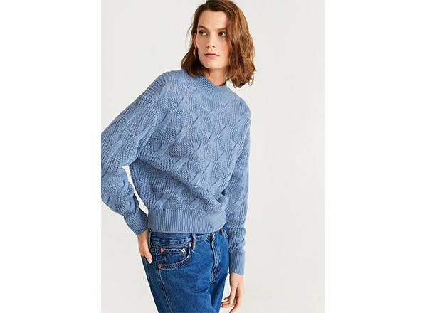 pulover bleu cu torsade Mango