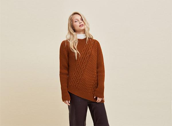 pulover caramiziu cu torsade Stefanel