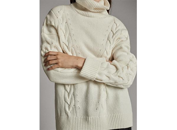 pulover crem din lana cu torsade Massimo Dutti