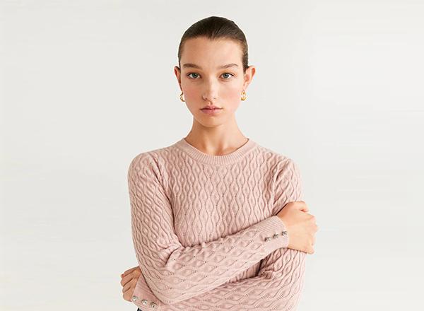 pulover fin roz deschis Mango