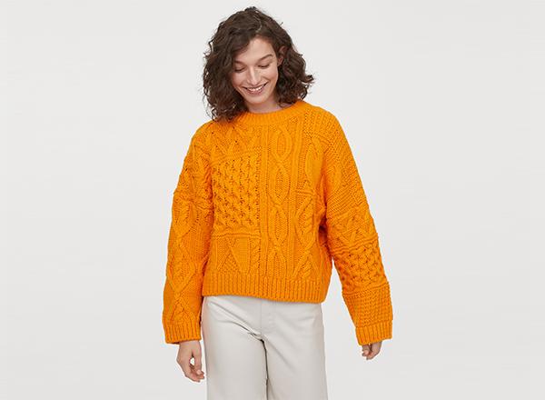 pulover galben cu torsade H&M