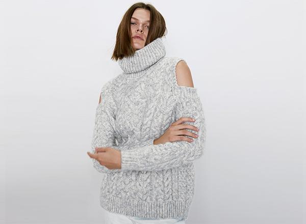 pulover gri cu torsade si umeri decupati Zara