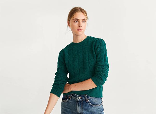 pulover verde cu torsade Mango