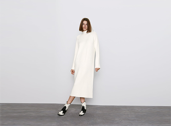 rochie alba tricotata Zara
