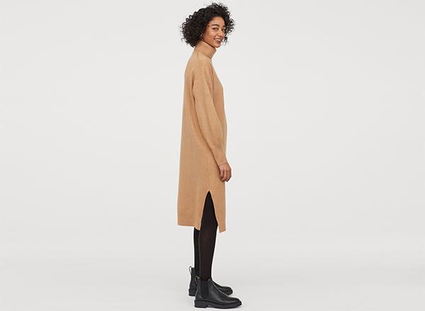 rochie bej camel midi H&M