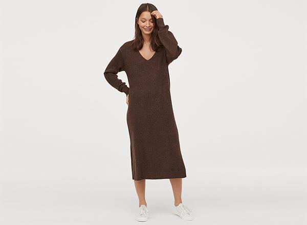 rochie maro cu decolteu V H&M