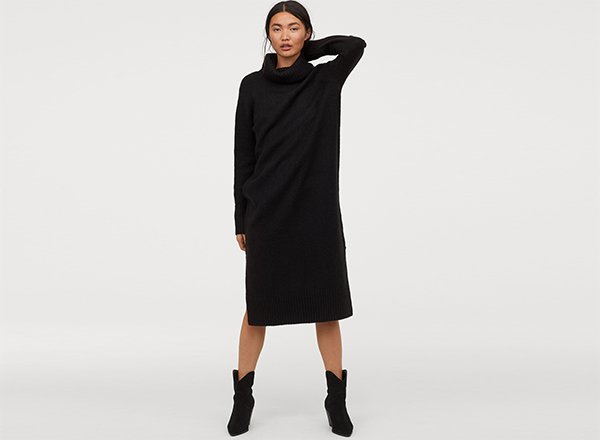 rochie neagra dreapta cu guler inalt H&M