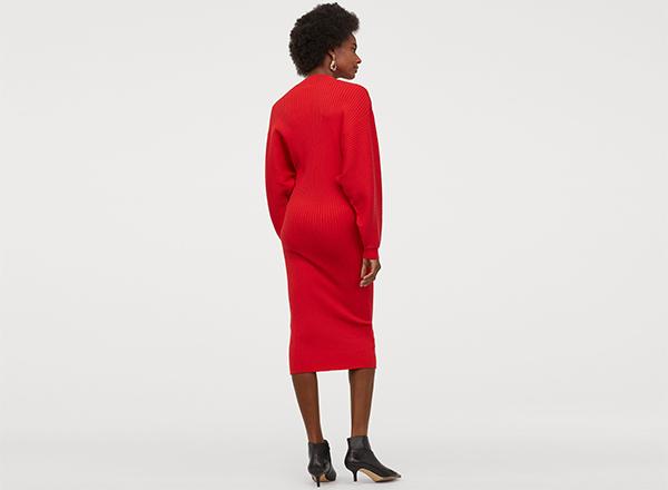 rochie rosie tricotata H&M