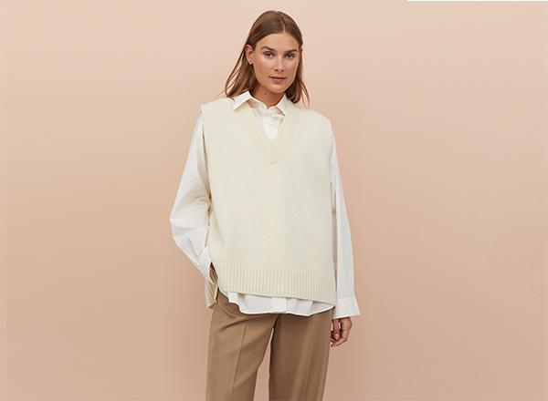 vesta din lana alb natur H&M