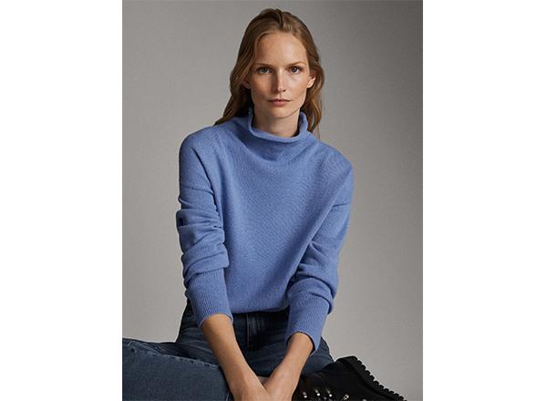 pulover albastru cu guler mandarin Massimo Dutti