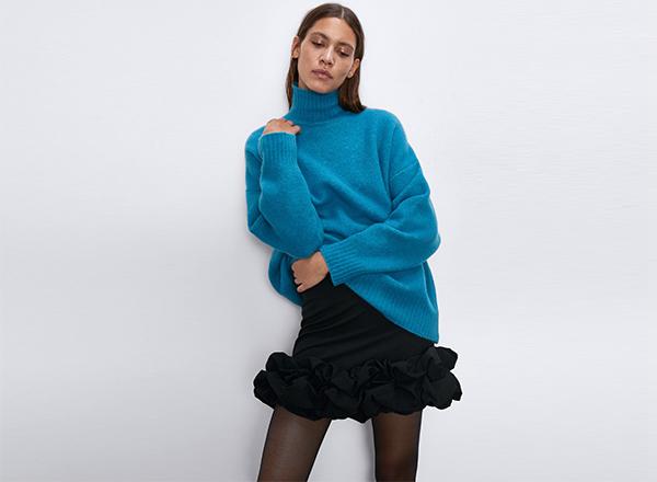pulover albastru lung Zara